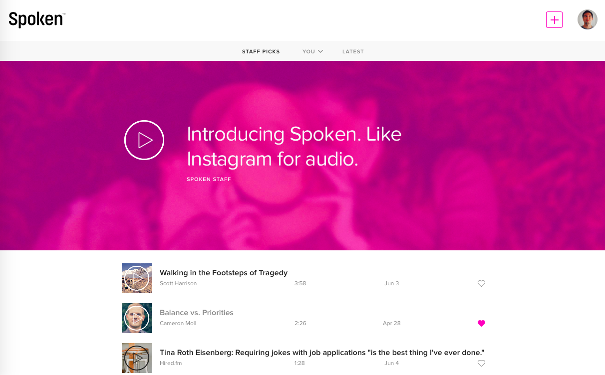 Spoken.co | Like Instagram for Audio